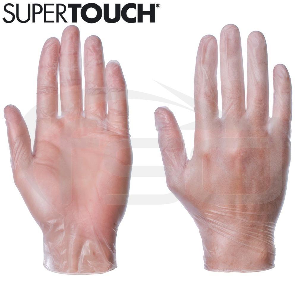 Supertouch Vinyl Gloves (Powder-Free) - Clear/White