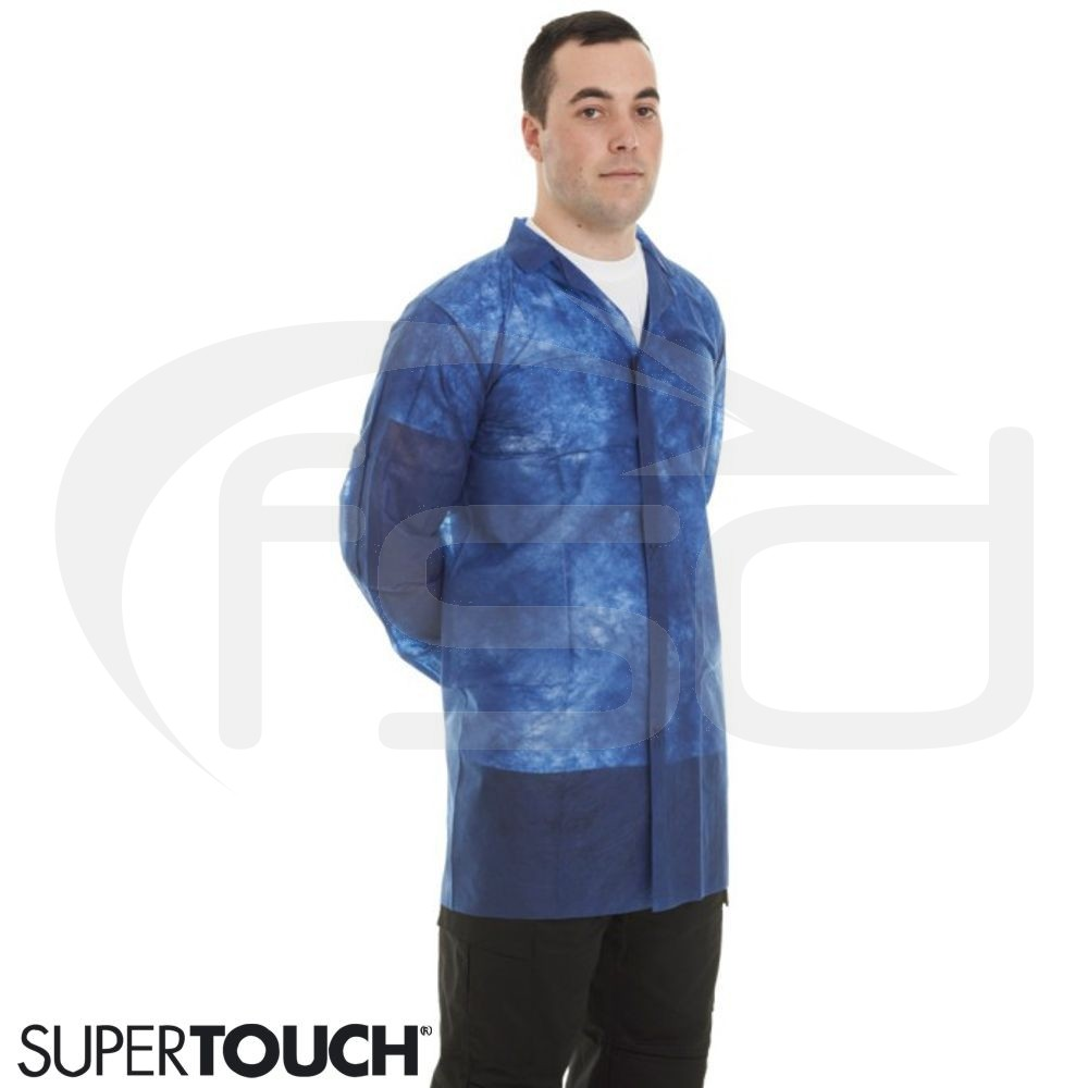 Supertouch Non-Woven Coat with Velcro Fastening - Blue