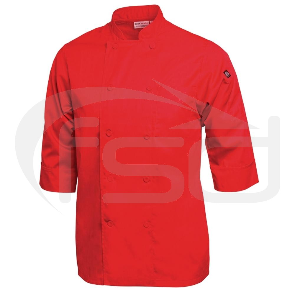 Colour by Chef Works 3/4 Sleeve Jacket - Red