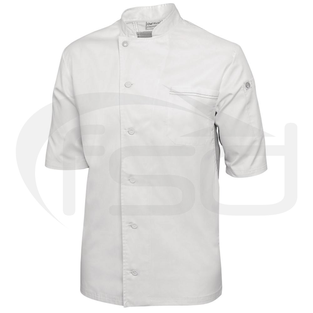 Chef Works Valais Chef Coat - White with Grey Panels