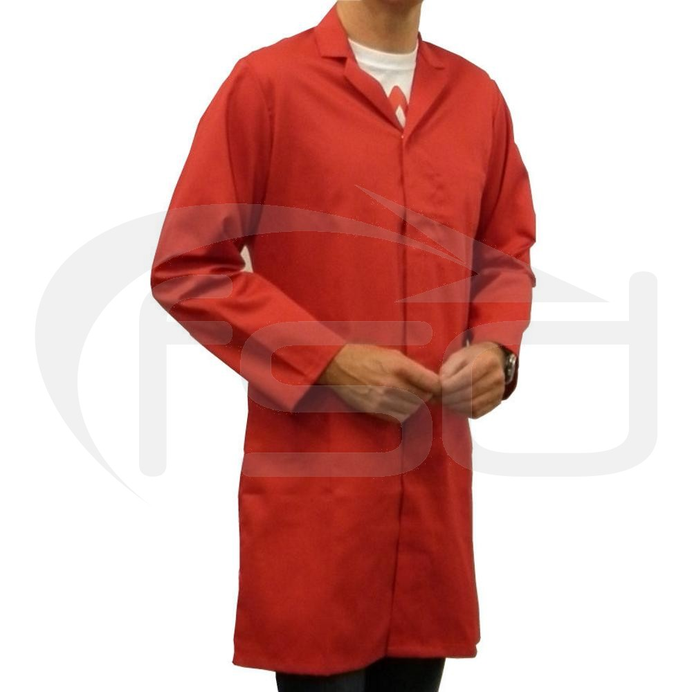 Men's (Unisex) Food Trade / Warehouse Coat (No External Pockets) - Red