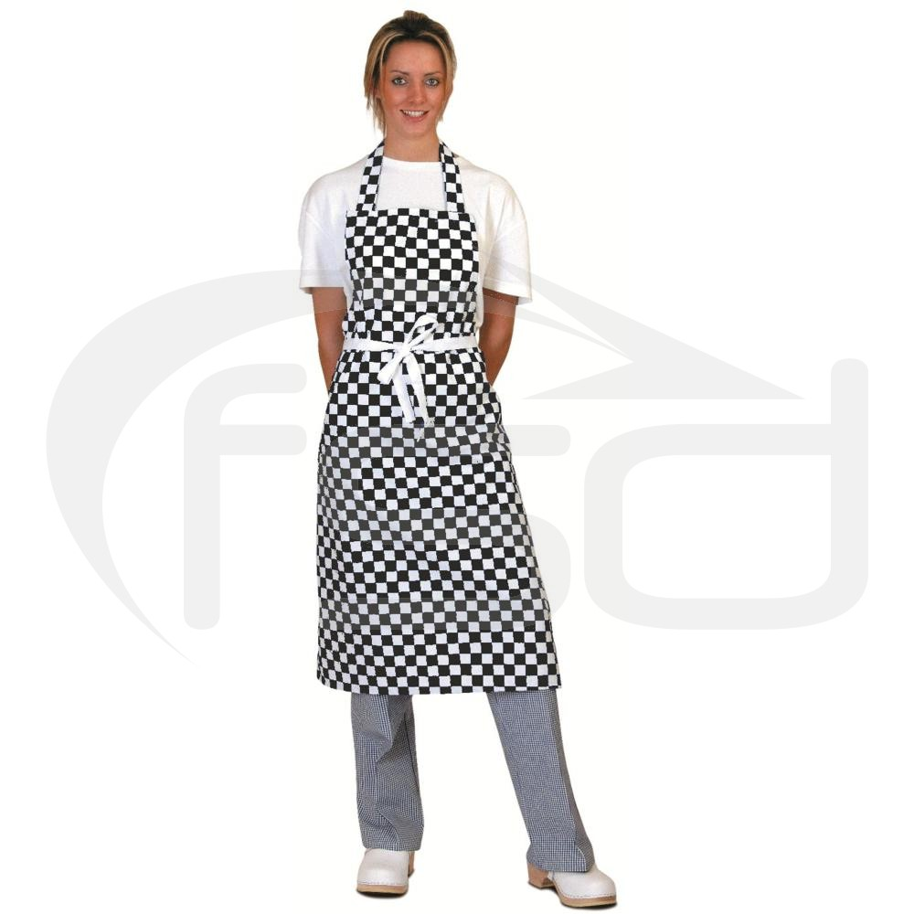 Black Check Full Length Apron