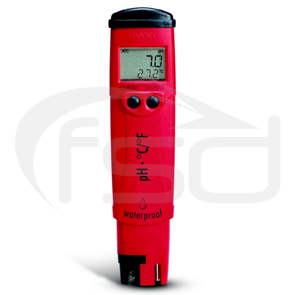 Hanna High Resolution Pocket pH Tester with Thermometer and +/- 0.1 pH Accuracy