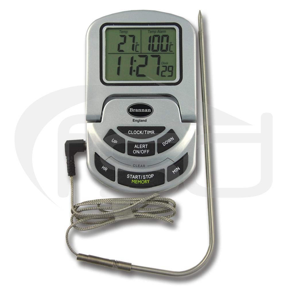 Oven Thermometer and Timer in Silver