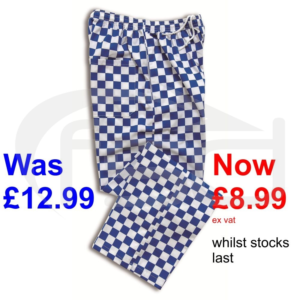 Chef's Trousers - Large Blue Checks