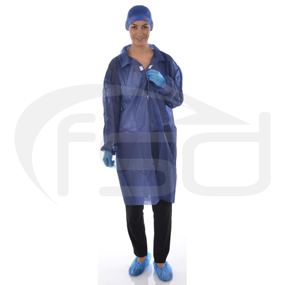 Non-Woven Coat (Velcro Fastening) - Blue
