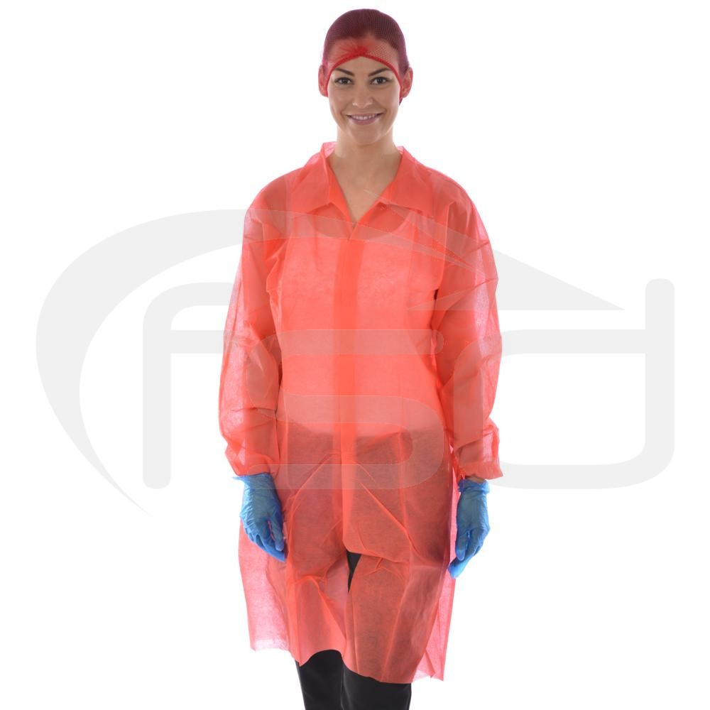 Non-Woven Coat (Velcro Fastening) - Red