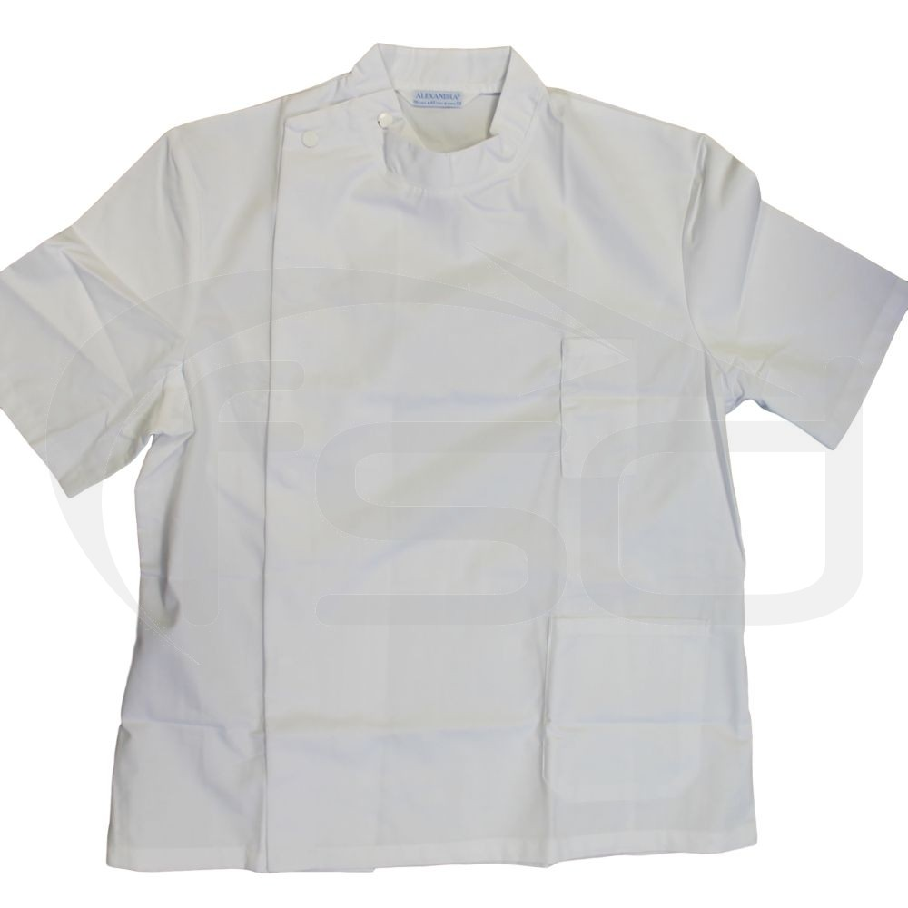 "Clearance Mens Alexandra White Short-sleeved DENTAL TUNIC (Size 46"" Chest) - Faint pen mark (approx 1"")"