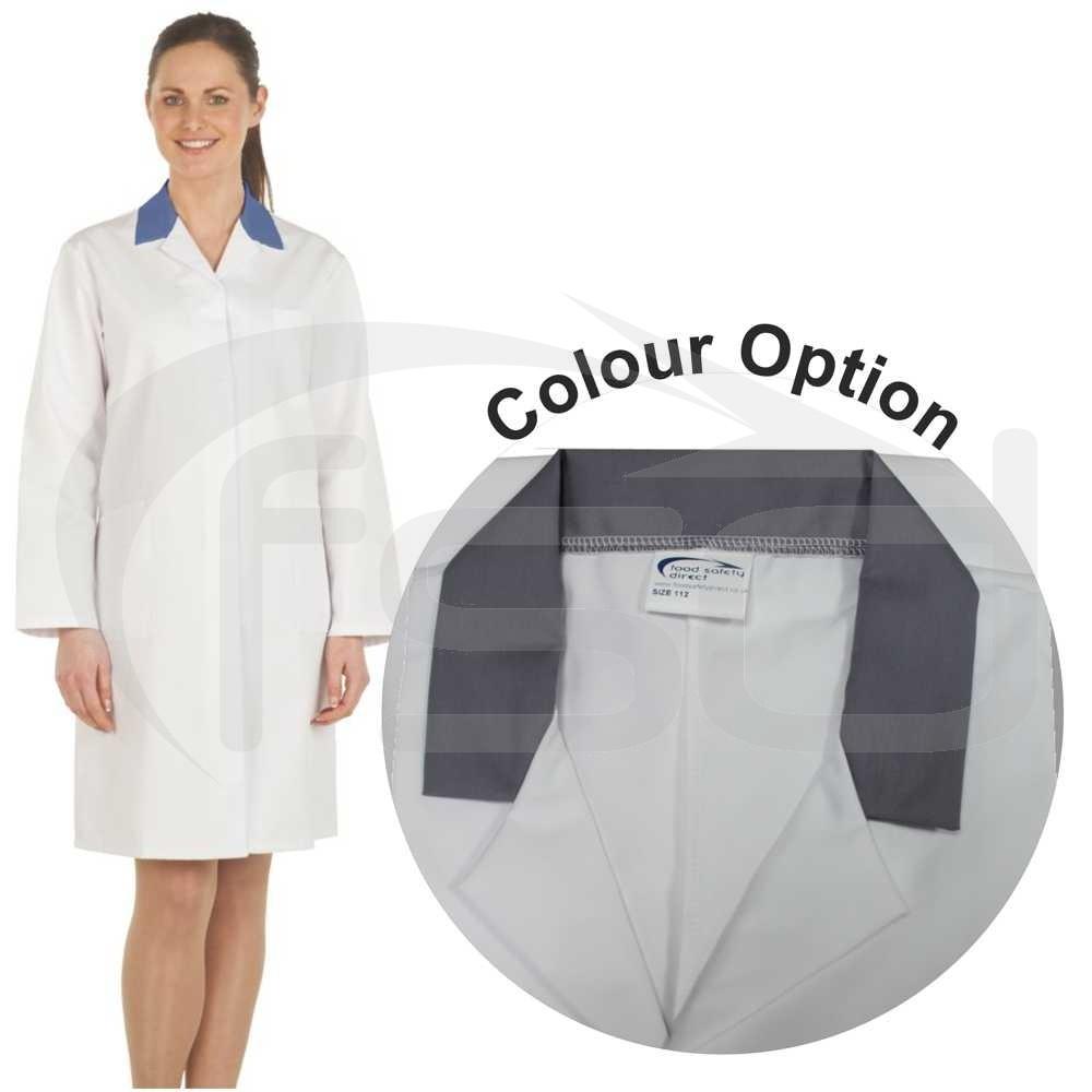 Ladies White Lab Coat with Coloured Collar (Grey)