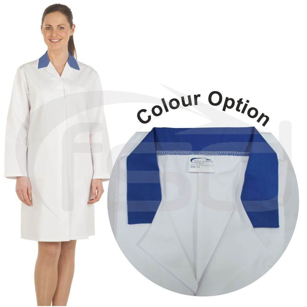 Ladies White Lab Coat with Coloured Collar (Royal Blue)