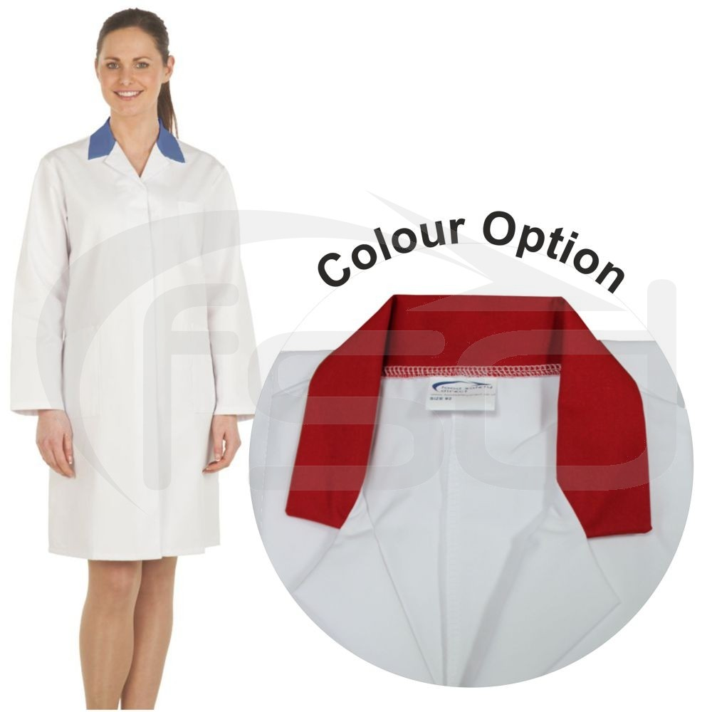 Ladies White Lab Coat with Coloured Collar (Red)