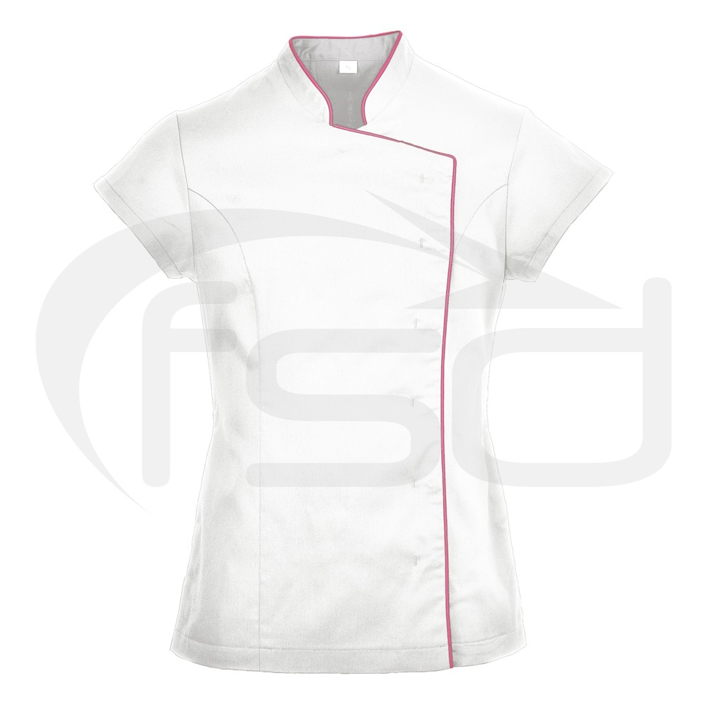 Ladies Wrap Beauty Tunic (White with Pink Piping) - XL