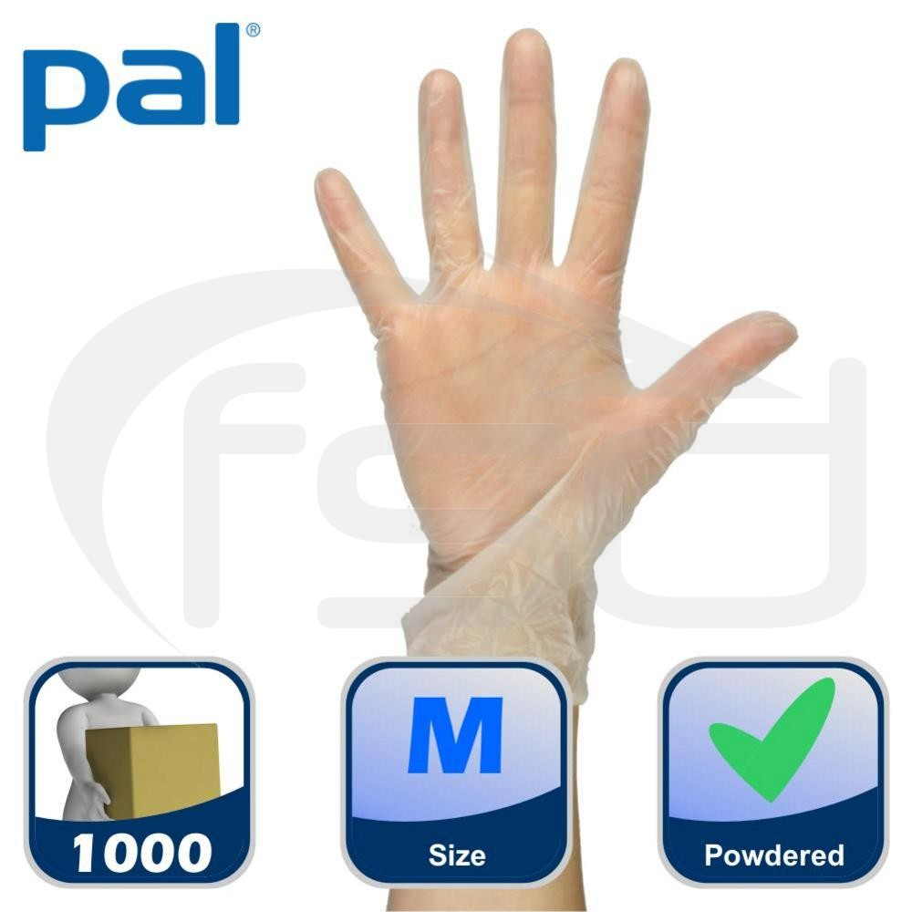 Case of PAL Vinyl Gloves (Powdered) - White - Medium (10 x 100)