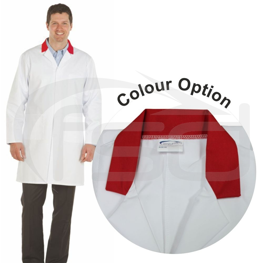 White Men's (Unisex) Lab Coat with Coloured Collar (Red)