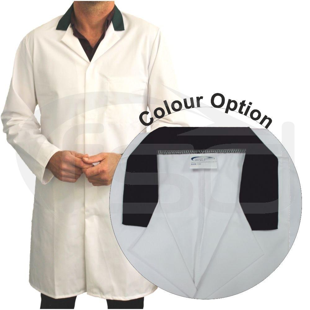 White Men's (Unisex) Food Trade Coat with Coloured Collar (Black)