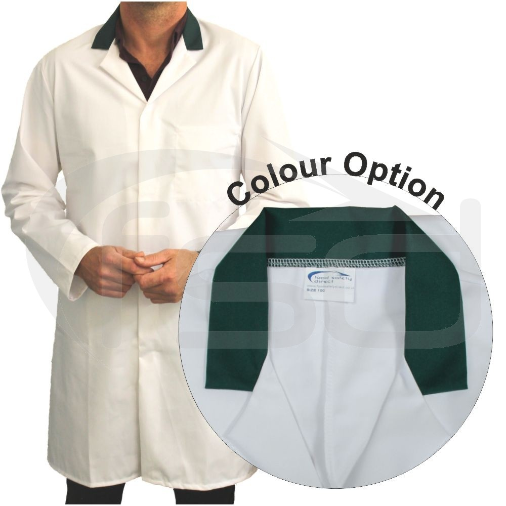 White Men's (Unisex) Food Trade Coat with Coloured Collar (Green)
