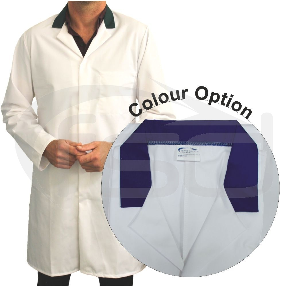 White Men's (Unisex) Food Trade Coat with Coloured Collar (Navy)