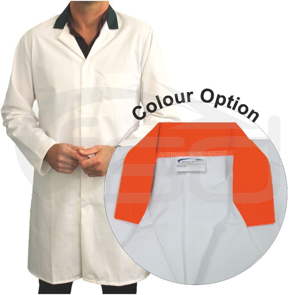 White Men's (Unisex) Food Trade Coat with Coloured Collar (Orange)