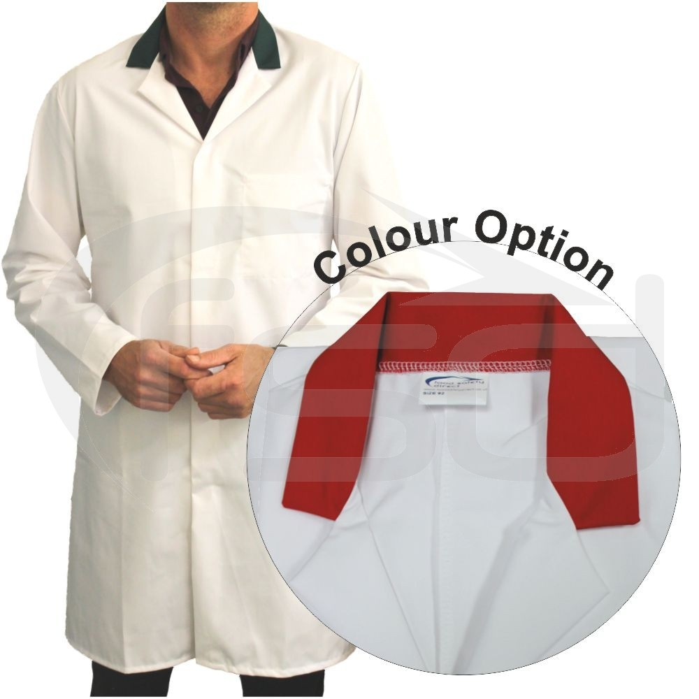 White Men's (Unisex) Food Trade Coat with Coloured Collar (Red)