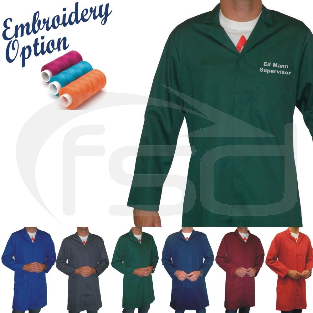 Embroidered Men's (Unisex) Food Trade / Warehouse Coats (No External Pockets)