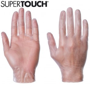 Supertouch Vinyl Gloves (Powder-Free) - Clear/White