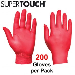 Supertouch Ultra Nitrile Gloves (Powder-Free) - Red - 200 Pack
