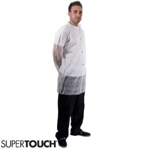 Supertouch Non-Woven Coat with Popper Fastening - White