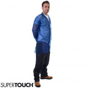 Supertouch Non-Woven Coat with Popper Fastening - Blue