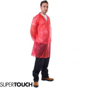 Supertouch Non-Woven Coat with Popper Fastening - Red