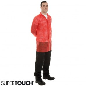 Supertouch Non-Woven Coat with Velcro Fastening - Red