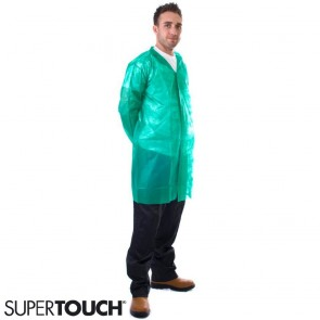 Supertouch Non-Woven Coat with Velcro Fastening - Green