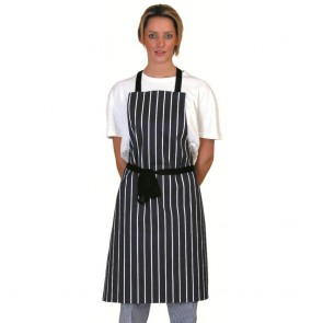 Navy Butcher's Stripe Full Length Apron