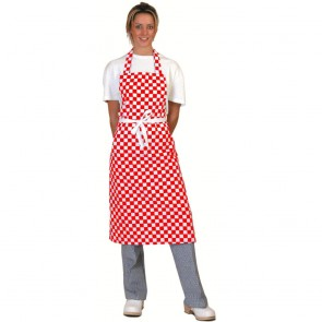 Red Check Full Length Apron