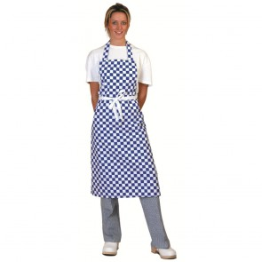 Blue Check Full Length Apron