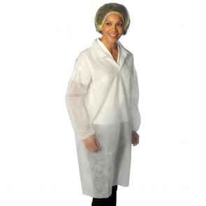 Non-Woven Coat (Velcro Fastening) - White