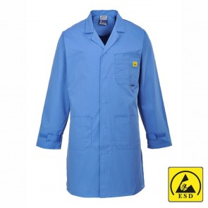 Anti-Static ESD Coat - Hospital Blue