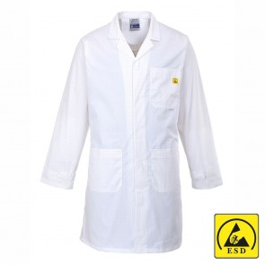 Anti-Static ESD Coat - White