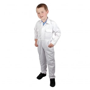"Clearance Kids White Coveralls (Size 26""/4-5 years) - Brand New - Shop soiled, will probably be fine with a quick wash"