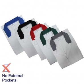 White Food Trade Coats with Coloured Collar (HACCP)