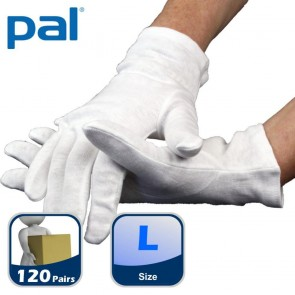 Case of PAL Cotton Serving Gloves - Large (10 x 12 pairs)