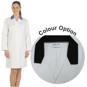 Ladies White Lab Coat with Coloured Collar (Black)