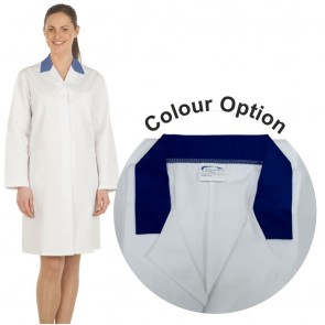 Ladies White Lab Coat with Coloured Collar (Navy)