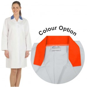Ladies White Lab Coat with Coloured Collar (Orange)