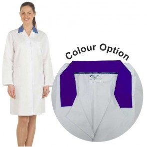 Ladies White Lab Coat with Coloured Collar (Purple)