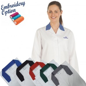 Embroidered Ladies White Lab Coat with Coloured Collar