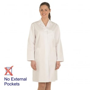 Ladies White Food Trade Coat (No External Pockets)