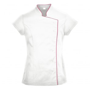 Ladies Wrap Beauty Tunic (White with Pink Piping) - M