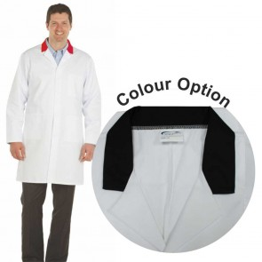 White Men's (Unisex) Lab Coat with Coloured Collar (Black)
