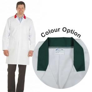 White Men's (Unisex) Lab Coat with Coloured Collar (Green)
