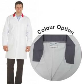 White Men's (Unisex) Lab Coat with Coloured Collar (Grey)